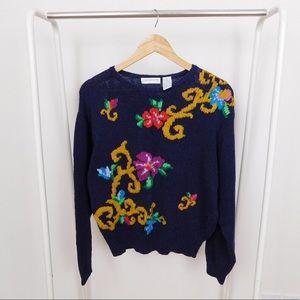 Vintage Navy Floral Pattern Silk & Cotton Sweater
